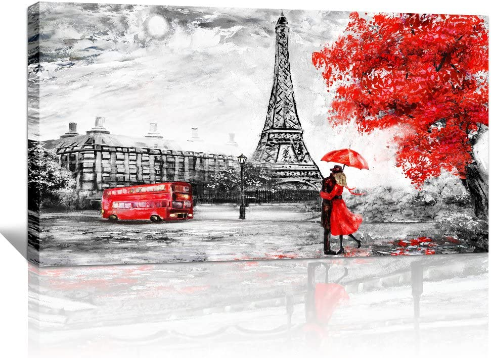 wall art for living room Decorations Photo Prints Panorama of black and white buildings and beautiful Eiffel Tower red couples Modern Home Decor The room Stretched and Framed artwork 24
