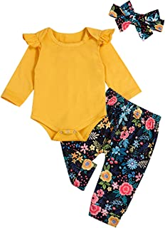 Newborn Baby Girls Clothes Ruffle T-Shirt + Floral Pants...