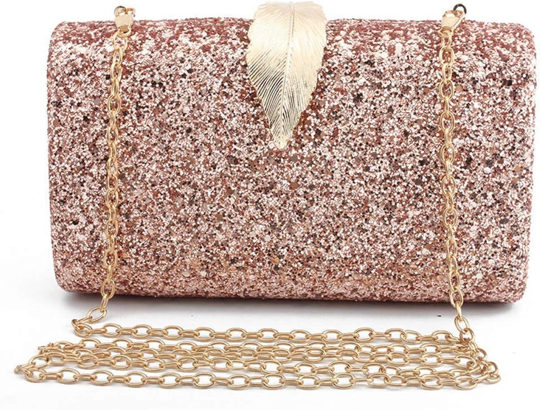 Wershiny Women's Evening Clutch Bags Evening Handbags for Formal Party Bridal Wedding Super Shiny Powder Hardware Leaf Lock Fashion Dress Cheongsam Bag