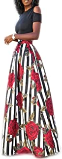 New Two Pieces Casual Women Maxi Dresses Short Sleeve Black Top Long Pattern Floral Dress Plus Size 6XL Vestidos