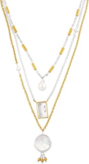 Silpada 'Charisma' Freshwater Cultured Pearl & Mother-of-Pearl Tri-Strand Necklace in Sterling Silver & Brass