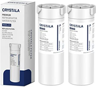 XWF Water Filter for GE Refrigerator, Crystala Filters NSF 42 Certified Compatible with Select GE french-door & Side by Side refrigerators, Replacement for GE XWF Genuine SmartWater (2 Pack)