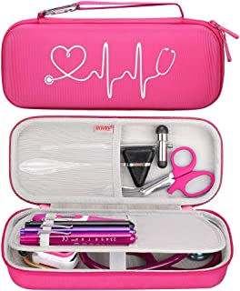 BOVKE Travel Case for 3M Littmann Classic III, Lightweight II S.E, Cardiology IV Diagnostic, MDF Acoustica Deluxe Stethoscopes - Extra Room for Taylor Percussion Reflex Hammer and Penlight, Raspberry
