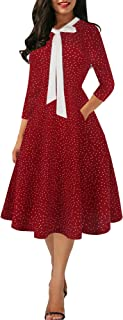 Women's Vintage Butterfly Bow Tie V-Neck Casual Pockets Patchwork Work A-line Dress CQ278