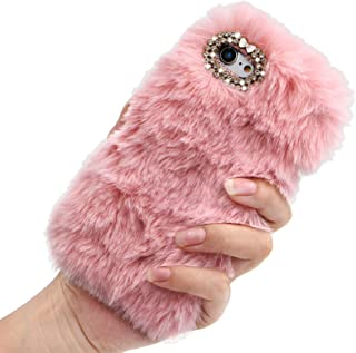 Rhinestone Fluffy Rabbit Fur Case for OnePlus 8T / OnePlus 8T+ 5G, Girlyard Cute New Bling Diamond Handmade Furry Winter W...
