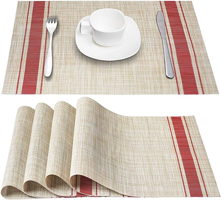 DACHUI Placemats Heat Resistant Placemats Stain Resistant Anti Skid Washable PVC Table Mats Woven Vinyl Placemats Set Of 6 Red
