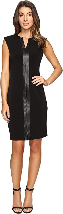 Extended Shoulder Dress with Faux Leather & Chain