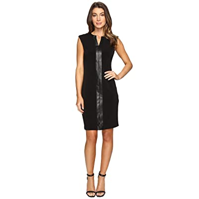Calvin Klein Extended Shoulder Dress with Faux Leather Chain (Black) Women