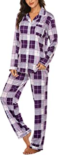 Ekouaer Sleepwear for Women Long Sleeve Pajamas Set Button Down Classic Loungewear Pj Set S-XXL