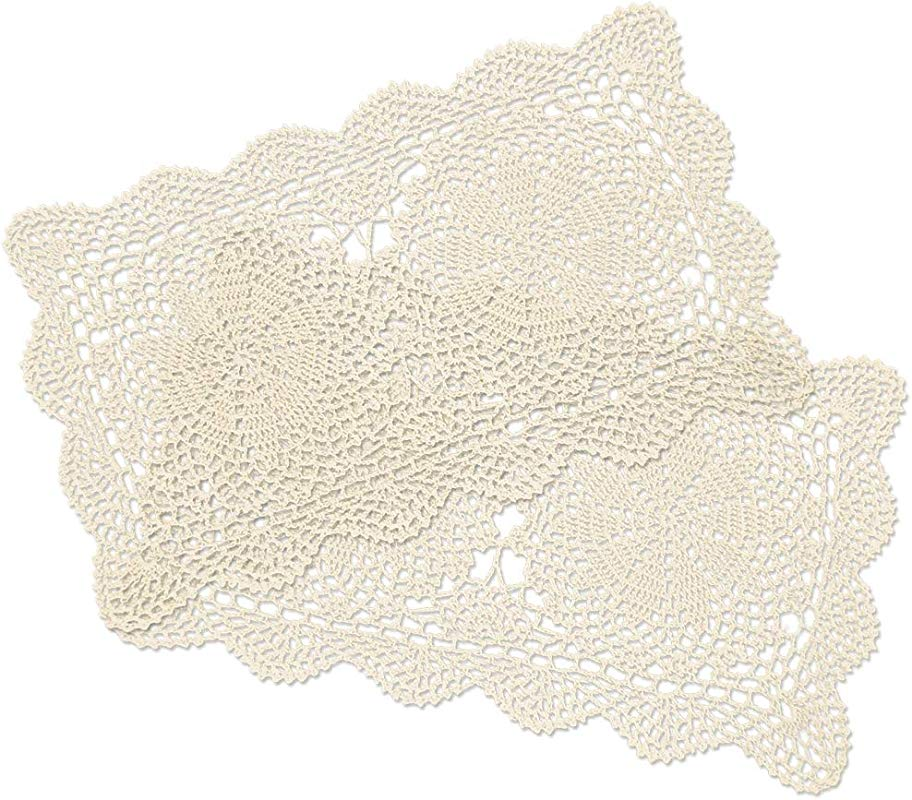 Yazi Crochet Cotton Lace Placemats Doilies 2pc Beige 10inches By 16inches