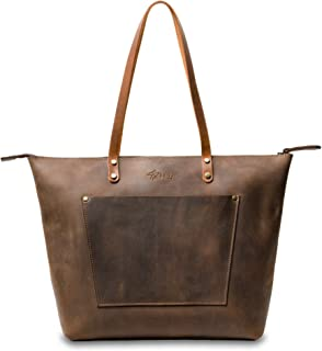 Everyday Bag ~ Rissy Tote by 3PD Scalloped Leather w Hand-stitching Bicolor Rustic Leather Totebag or Tote Purse ~ Handmade Simple Tote