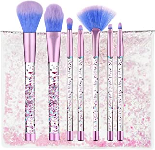 Unicorn Makeup Brushes, Coshine 7pcs Unicorn Liquid Quicksand Glitter Makeup Brush Set With Crystal Pouch, Nylon Hair with Acrylic Handle