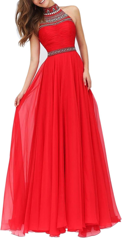SecretCastle Women's Halter Shelth Choker Collar Long Party Dress Prom Gown