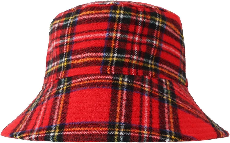 WITHMOONS Polyester Plaid Tartan Bucket Fedora Hat Winter Check Cap HMB1299 (Red)