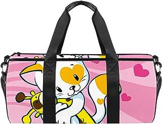 حقائب رياضية رياضية للكتف حقيبة سفر واق من المطر للرجال والنساء قطة لطيفة تحب لعبة الزرافة