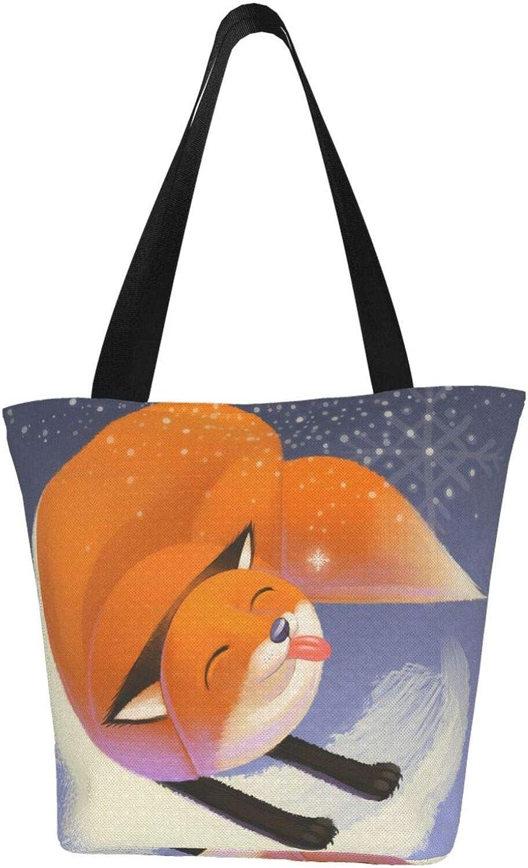 Fox Art Animals Naughty Cute Themed Printed Women Canvas Handbag Zipper Shoulder Bag Work Booksbag Tote Purse Leisure Hobo Bag For Shopping