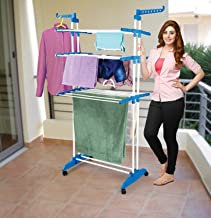 PEony 2 Poll Jumbo 3 Layer Clothes Hanger Rack, Cloth Drying Stand (Blue)
