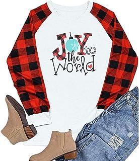 OverDose Boutique Overdose Damen Oberteile Casual Rundhals Langarm Shirt Weihnachten Drucken Outfits T-Shirt Tops Streetwear Blusen