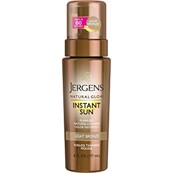 Jergens Natural Glow Instant Sun Body Mousse, Light Bronze Tan, 6 Ounce Sunless Tanning, Self Tanner, for a Natural-looking Tan