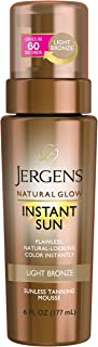Jergens Natural Glow Instant Sun Body Mousse, Light Bronze Tan, 6 Ounce Sunless..