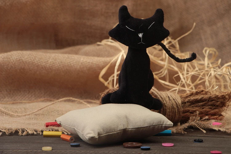 Unusual Handmade Beautiful Soft Toy Black Kitty Made Of Fleece
