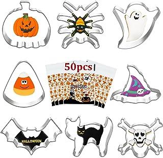 8Pcs Emporte Piece Halloween 50pcs Sachets de Biscuits d'Halloween Acier Inoxydable Emporte Piece Patisserie Moule à Biscu...