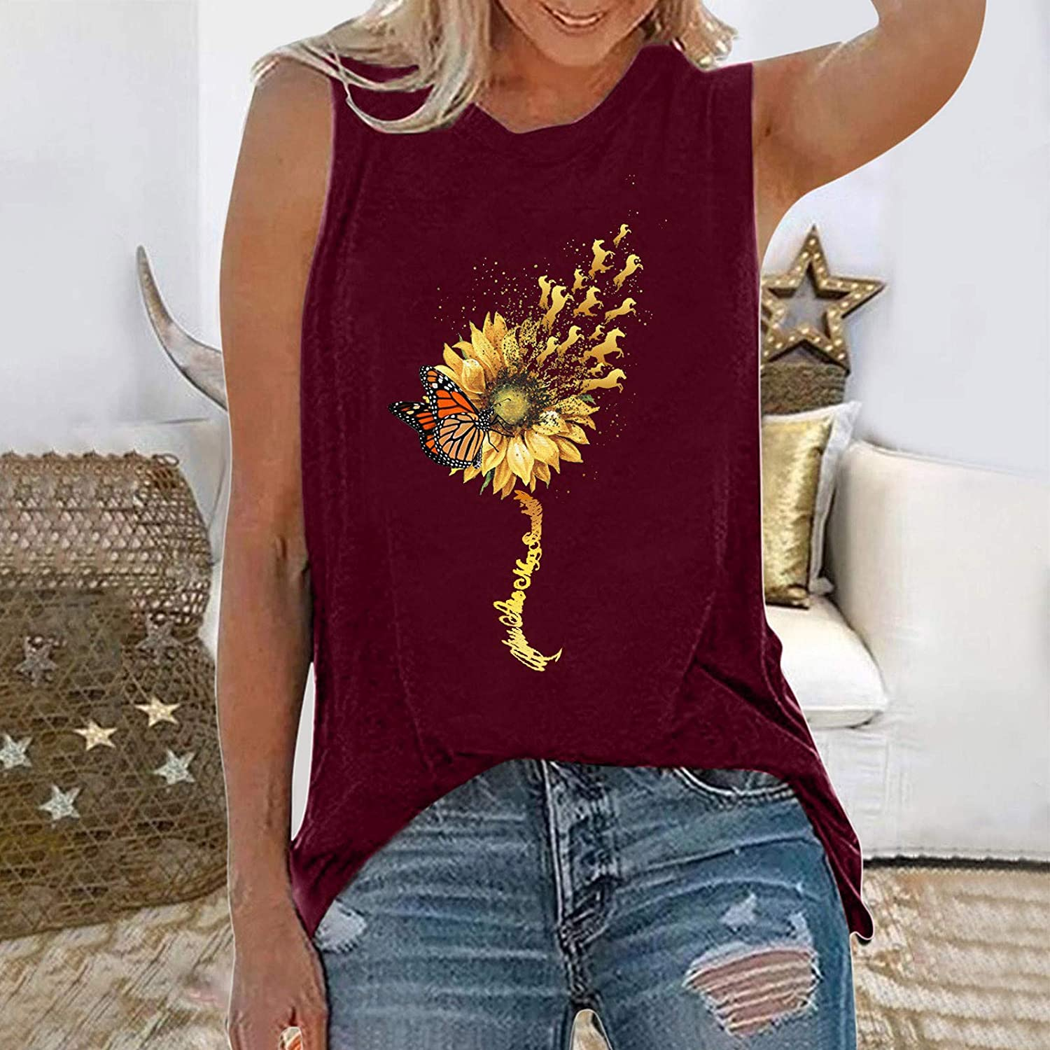Tank Tops for Women,Womens Tops for Independence Day Women Letters Printing Sleeveless O-Neck Tank Shirt