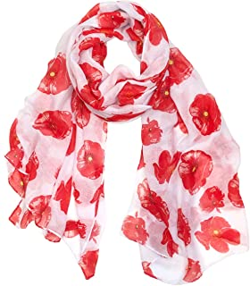 Wrapables Lightweight Poppy Floral Print Long Scarf