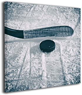 Song Art Hockey Puck and Stick Sliding Across The Ice Wall Painting Prints On Canvas Wall Decoration Frames Canvas-12x12 Inch Ready to Hang