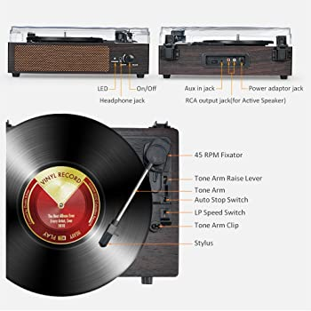Record Player Turntable Wireless Portable LP Phonograph with Built in Stereo Speakers 3-Speed Belt-Drive Turntable Vi...