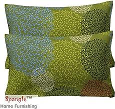 Spangle 104 TC Jaipuri Print Cotton Pillow Cover, Green -Set of 2 Piece