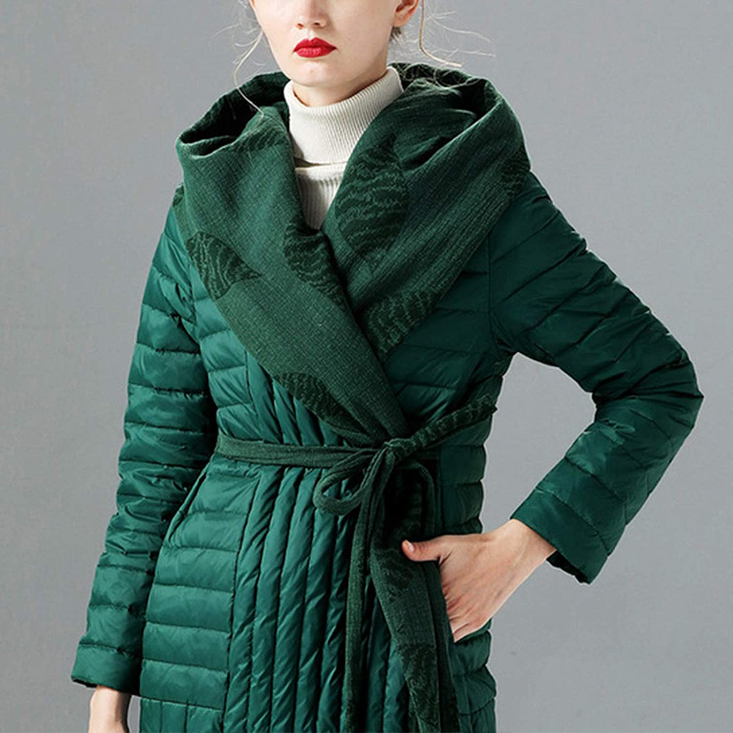 HANMAX Damen Ultraleicht Daunenjacke Winterjacke Stepp Mantel lang Winter Warm Daunenmantel Green1
