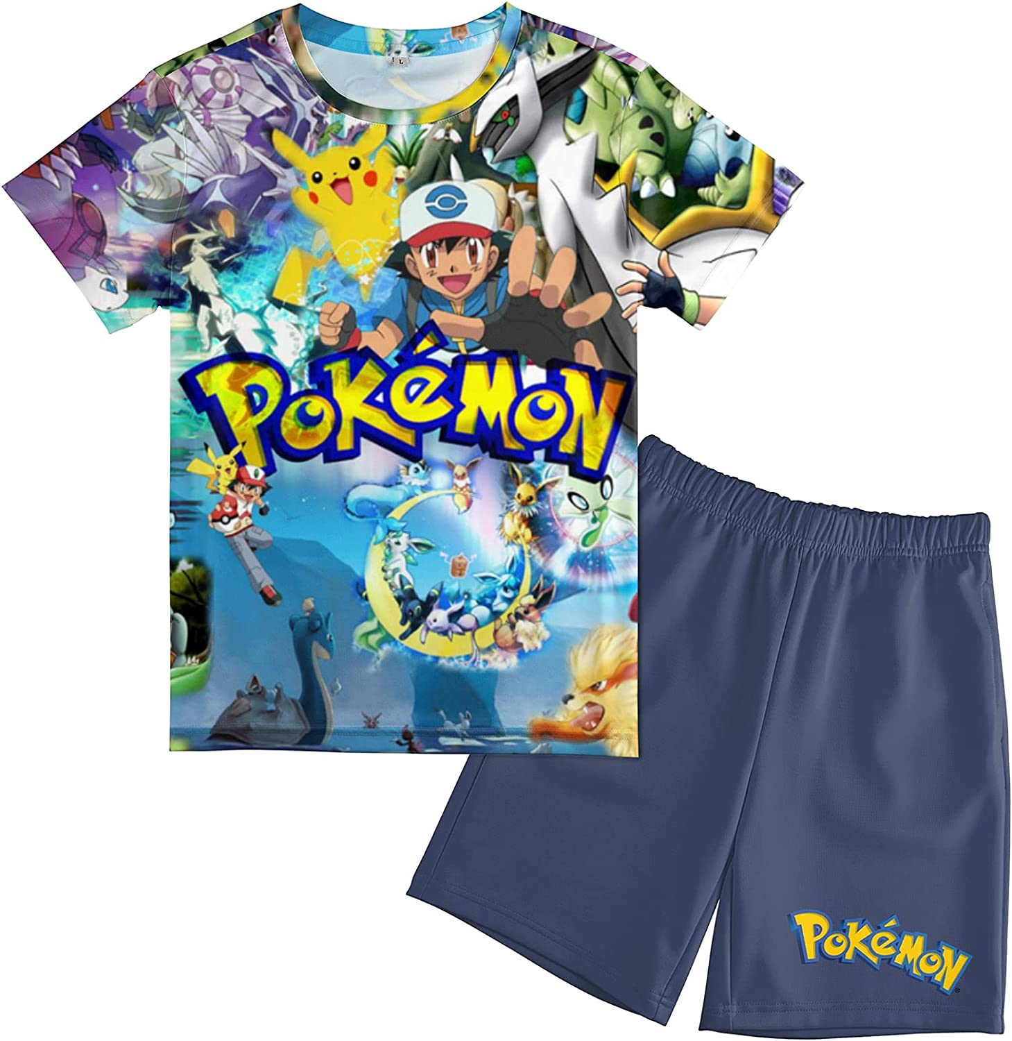 UWHIGKV Boys Casual T-Shirt and Shorts Set Kids Summer Outfits Tee and Shorts