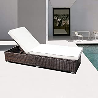 DIMAR Garden Outdoor Rattan Patio Chaise Lounge Reclining Chair Sunbed with Cushion Wicker Rattan Couch Patio Furniture fo...