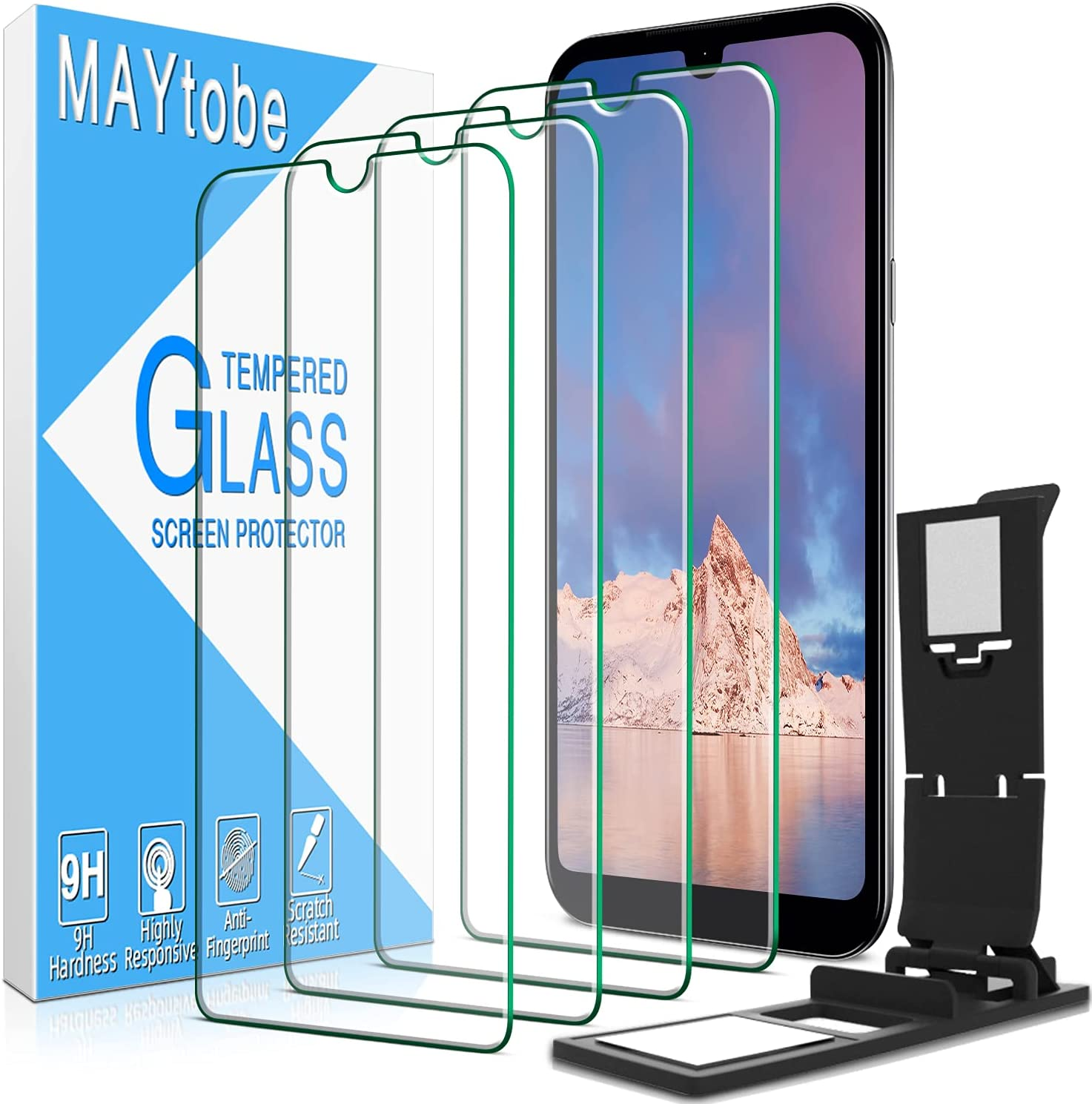 4 Pack MAYtobe Screen Protector for LG K31, Risio 4, Aristo 5, Fortune 3, Phoenix 5 Tempered Glass, 9H Hardness, Bubble Free with Easy Installation Tray