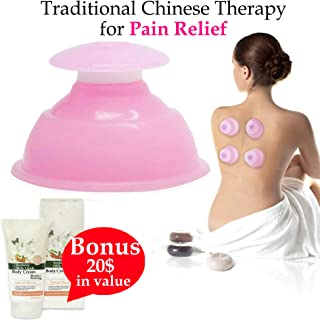 Relax Your Body and Soul with Silicone Cupping Therapy Set Handheld Massager Vacuum Anti-Cellulite Massage Needleless Acupuncture Suction Cups Muscle Tension Reliever + European Body Cream + E-Book