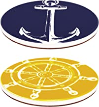 Haven Nautical Ceramic Coasters, 2 Assorted Designs, Set of 4