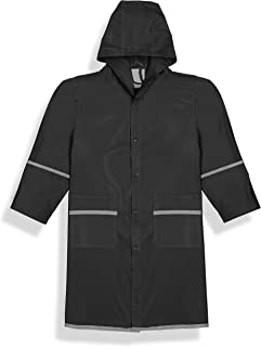 Fabugears Kids Raincoat | Boys, Juniors, Youth Waterproof Rain Jacket | Snap-On Closures | Hooded and Long Sleeves with Reflectors | Full-Length Rain Slicker | Size: M (7-8) Color: Black