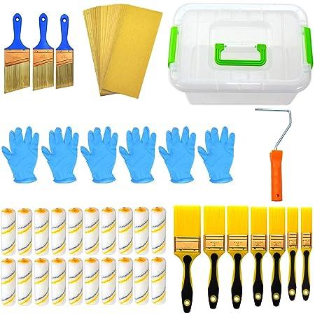 7 piezas kit de rodillo de pintura multifunci/ón para techos y paredes a prueba de goteo rodillos de pintura profesionales Charminer Juego de rodillos de pintura