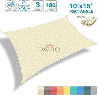 Patio Paradise 10' x 15' Tan Beige Sun Shade Sail Rectangle Canopy - Permeable UV Block Fabric Durable Outdoor - Customized Available