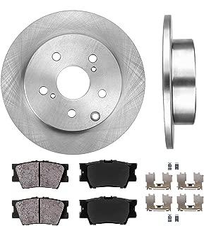 CRK12141 REAR 281 mm Premium OE 5 Lug [2] Brake Disc Rotors + [4] Ceramic Brake Pads + Clips