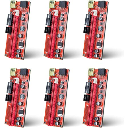 6-Pack PCIE Riser 1X to 16X Graphics Extension for GPU Mining Powered Riser Adapter Card 60cm USB 3.0 Cable Two 6PIN and Molex 3 Power Options Red USB Cable 10pcs 4 Solid Capacitors