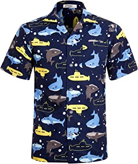 Men's Hawaiian Shirt 4 Way Stretch Regular Fit Button Down Beach Tropical Shirts