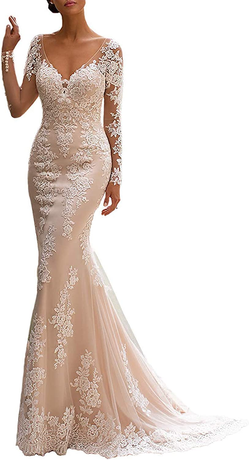 BeautBoy Women's Long Sleeves Mermaid Wedding Dress Lace Appliques V Neck Bridal Gown Plus Size W07 Ivory 20W