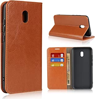 SDDLRM Cover Leather Case for Redmi 8A, Luxury Crazy Horse Genuine Leather Wallet Case with Viewing Stand & Card Slots, Fl...
