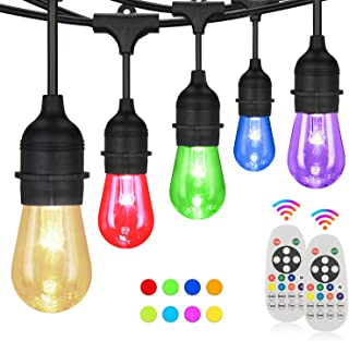 Svater Color Outdoor String Lights,2 Pack of 50FT with 15pcs E26 Base Shatterproof Bulbs,Remote Control RGB Patio Lights,I...