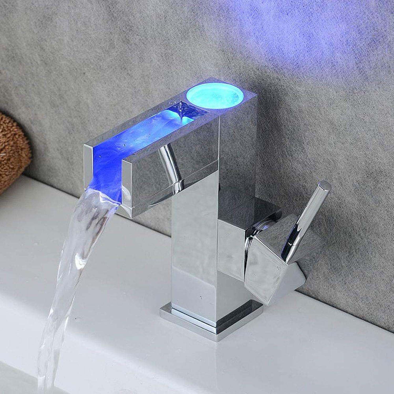 Innovation Lxy Einhebel Wasserfall Becken Wasserhahn mit LED Licht Mischbatterie mit Einhand Wasserkraft Temperatursensor Modernes Badezimmer RGB Monobloc Messing hhne (3 Farben)