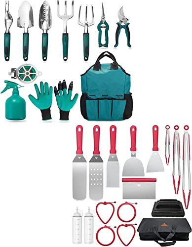 high quality FiveJoy Garden Tool Set, 11 Piece +Riddle Accessories Kit for Camp Chef discount BBQ Tools, 17 new arrival PCS sale