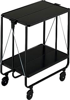 Leifheit Side-Car noir, desserte à roulettes simple à monter et démonter, avec table pliante très élégante, chariot pliabl...