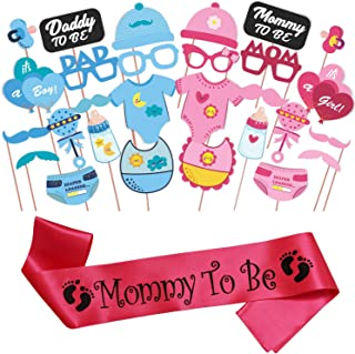 WOBBOX Baby Shower Combo of Photo Booth Party Props and Sash - Combo EL